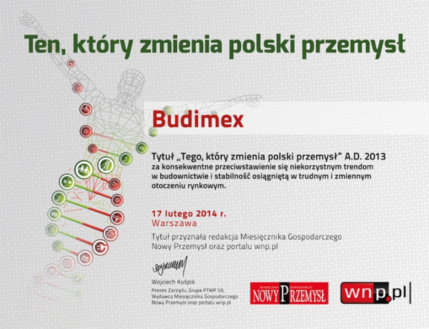 "Budimex with the title of ""the One Who Changes the Polish Industry"""